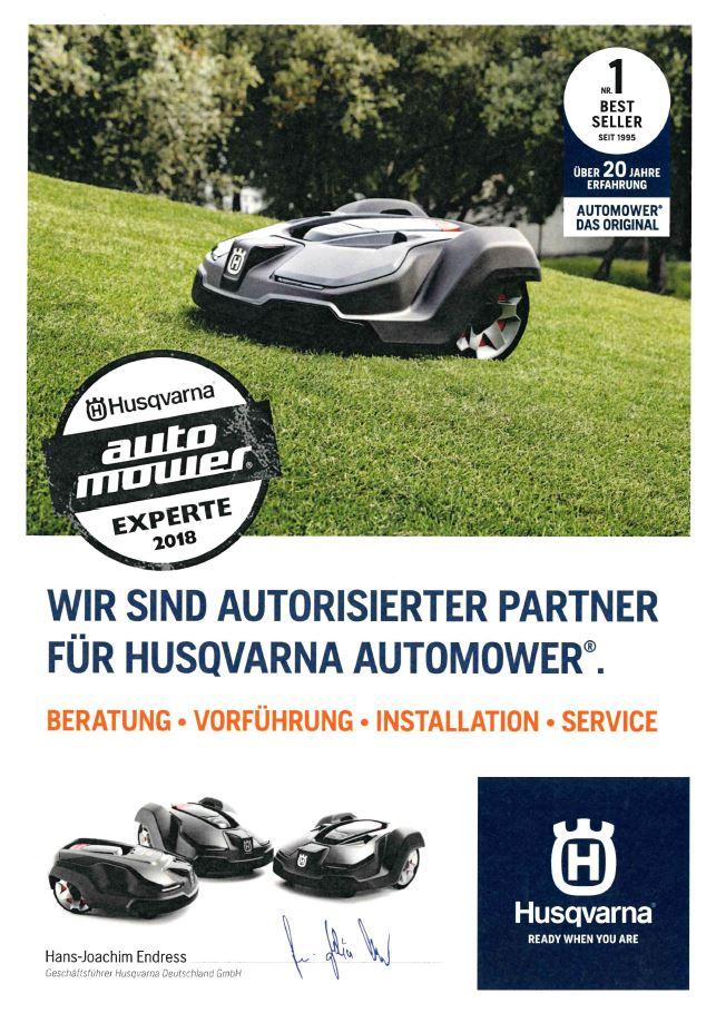 Husqvarna Automower EXPERTE 2018 - Zertifikat