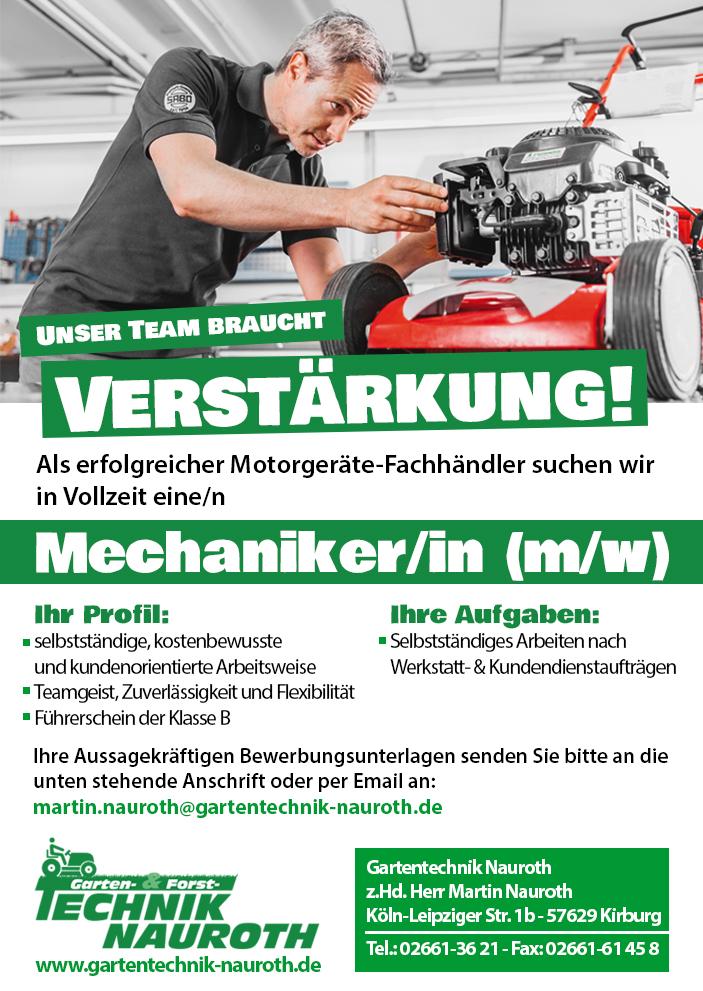 Gartentechnik Nauroth Stellenanzeige Mechaniker/Mechanikerin